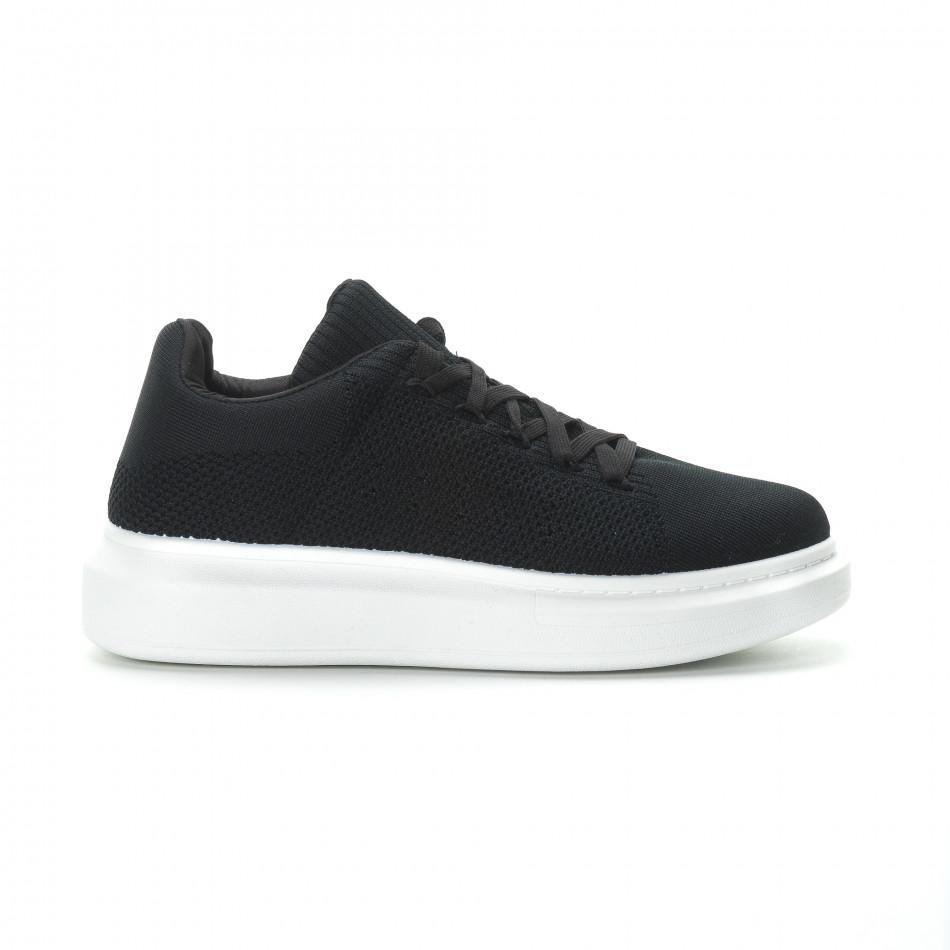 Ανδρικά μαύρα υφασμάτινα sneakers με χοντρή σόλα it270219-3