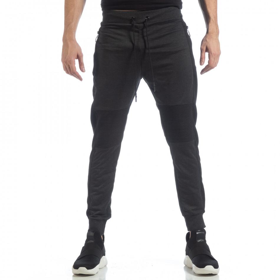 Ανδρική σκούρα γκρι φόρμα Biker με ρίγες it040219-45