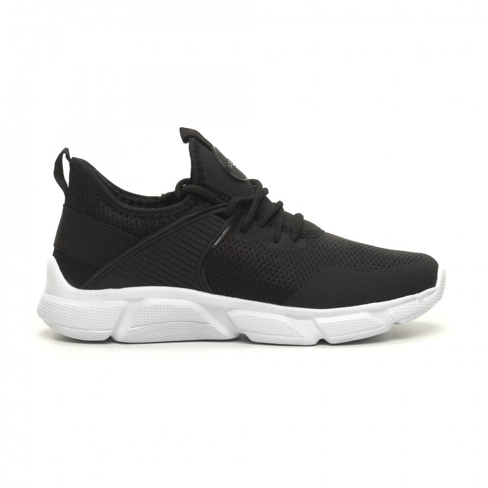 Ανδρικά μαύρα αθλητικά παπούτσια ελαφρύ μοντέλο κάλτσα it040619-6