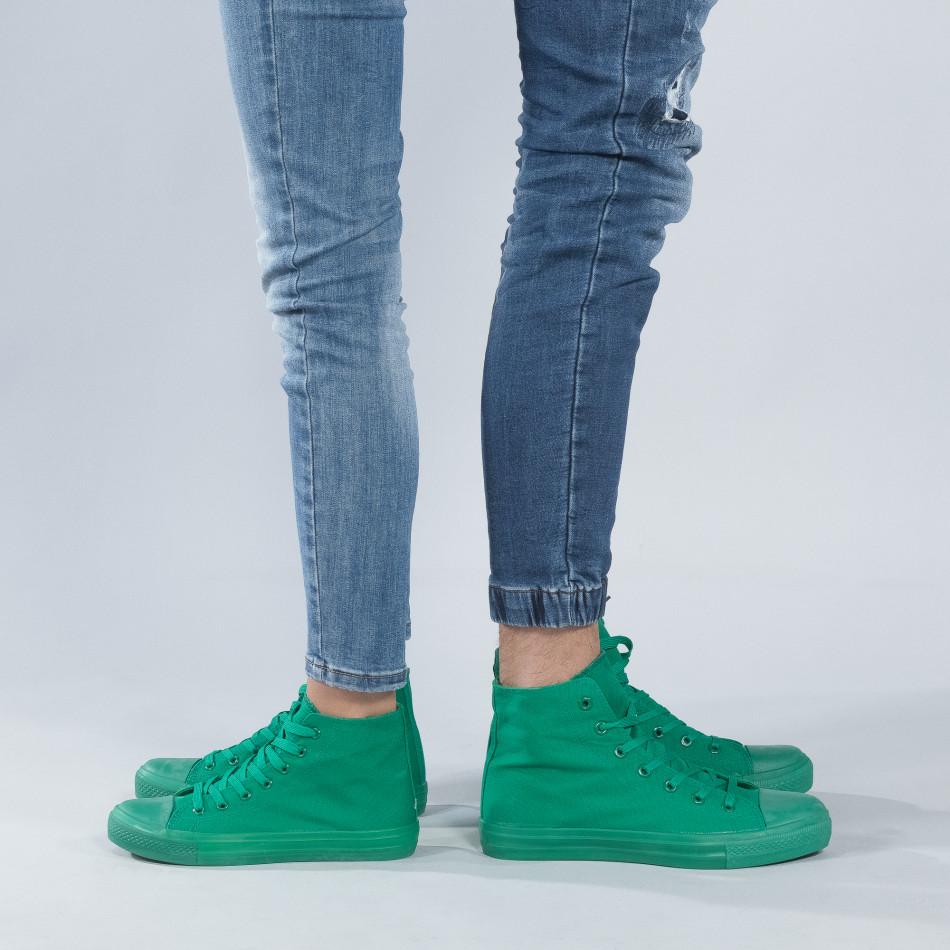 Ψηλά πράσινα sneakers για ζευγάρια cs-green-B341-B339