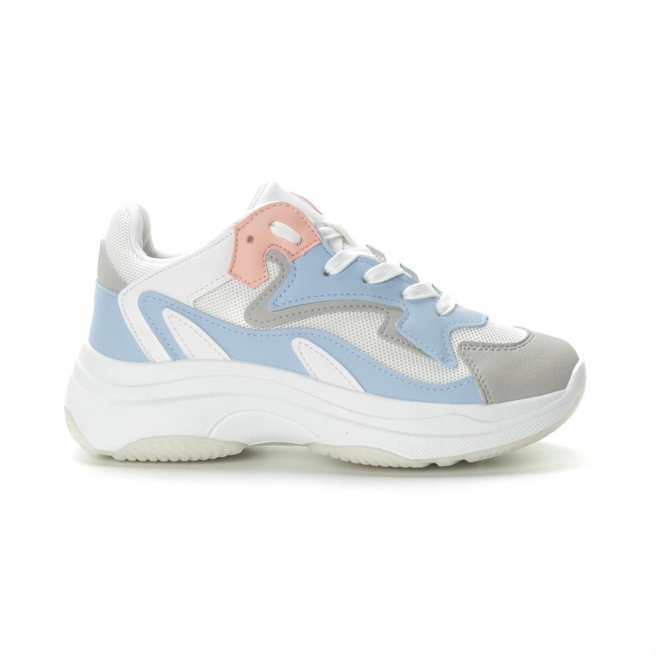 Γυναικεία λευκά αθλητικά παπούτσια με παστέλ λεπτομέρειες it270219-6