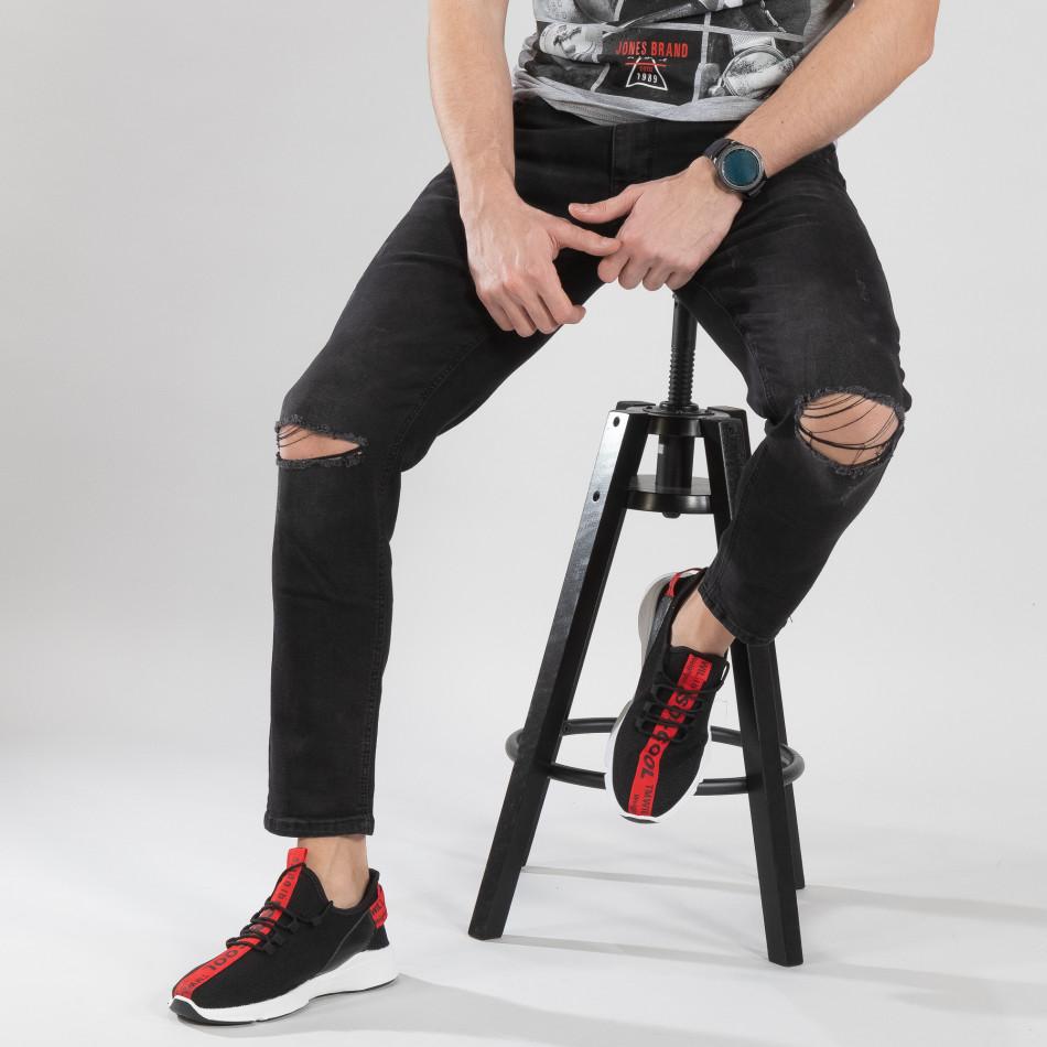 Ανδρικά μαύρα πλεκτά αθλητικά παπούτσια  it150319-14