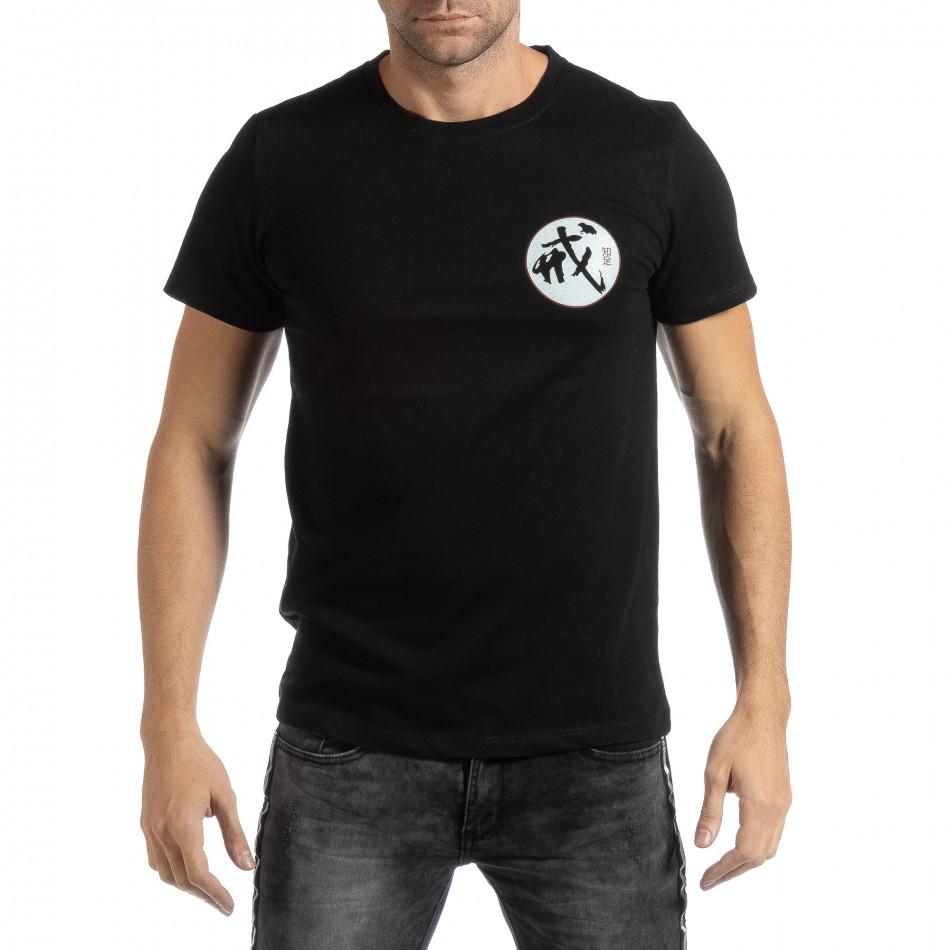 Ανδρική μαύρη κοντομάνικη με ανατολίτικο μοτίβο it261018-119