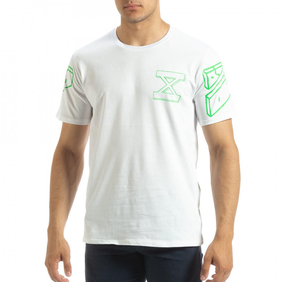 Ανδρική λευκή κοντομάνικη μπλούζα Uniplay it120619-39
