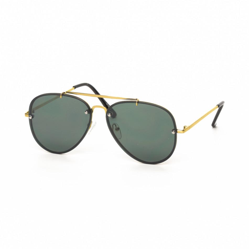 Ανδρικά μαύρα γυαλιά ηλίου πιλότου με χρυσαφί σκελετό it030519-11