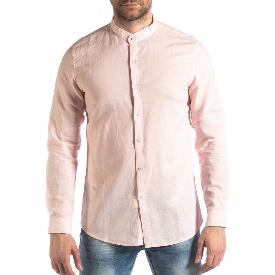Ανδρικό ροζ πουκάμισο από λινό και βαμβάκι it210319-104