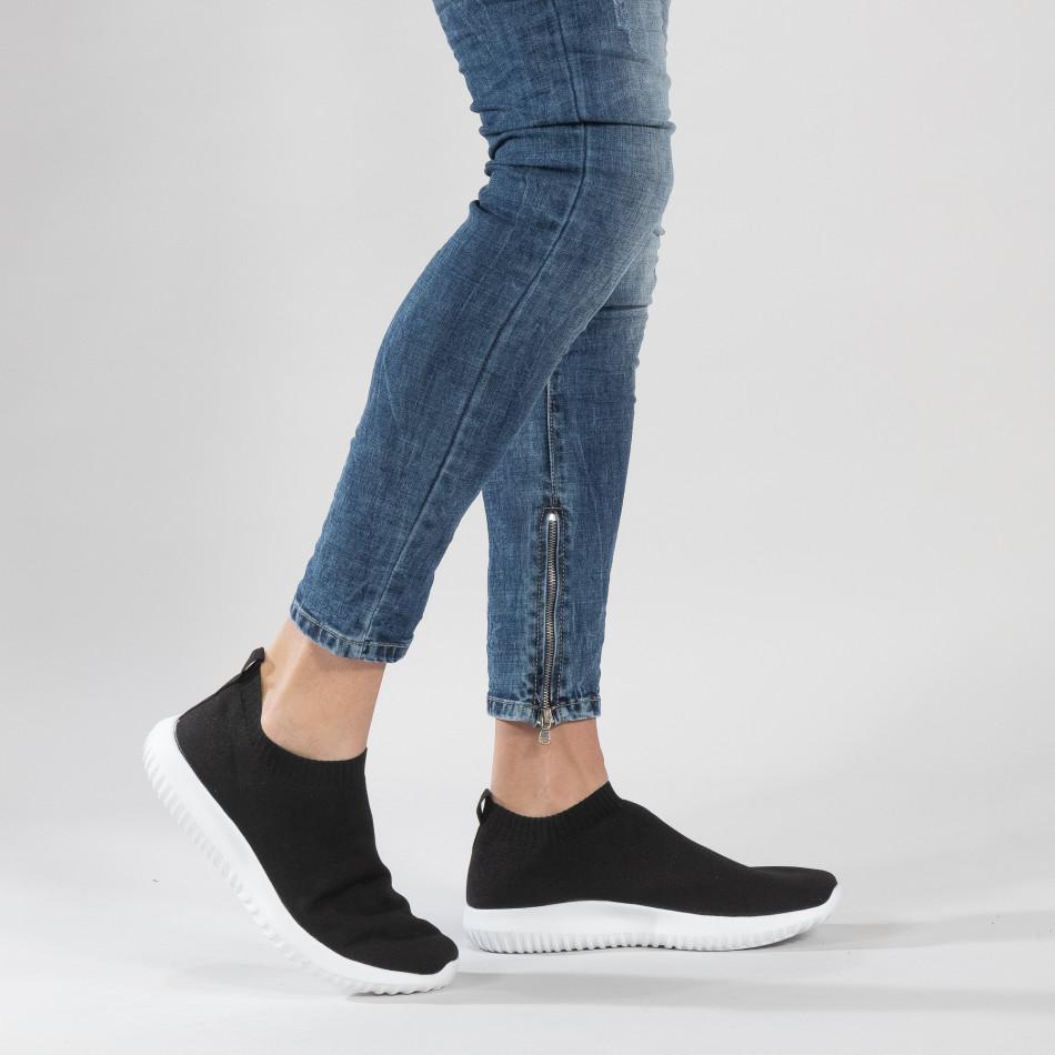 Ανδρικά χαμηλά μαύρα αθλητικά παπούτσια κάλτσα it190219-12