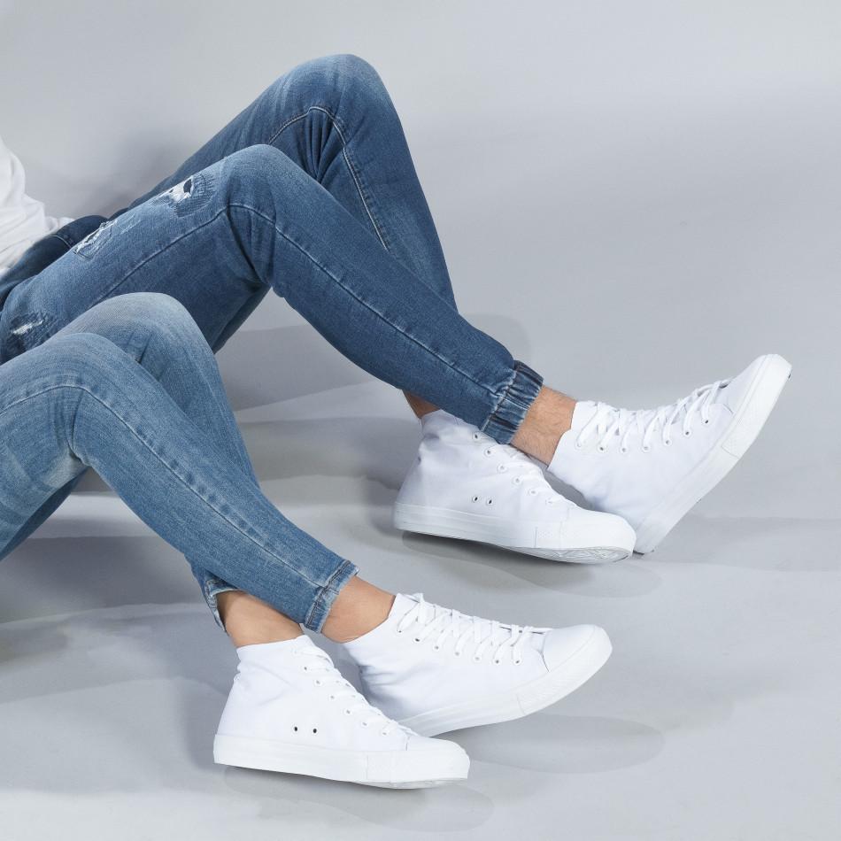 Ψηλά λευκά sneakers για ζευγάρια κλασικό μοντέλο cs-white-B341-B339