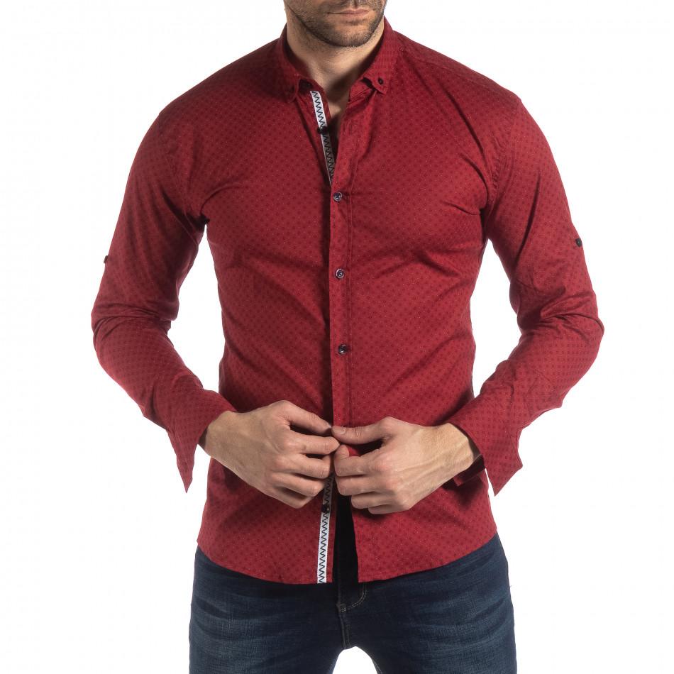 Ανδρικό κόκκινο Slimf fit πουκάμισο με σταυροτό μοτίβο it210319-95