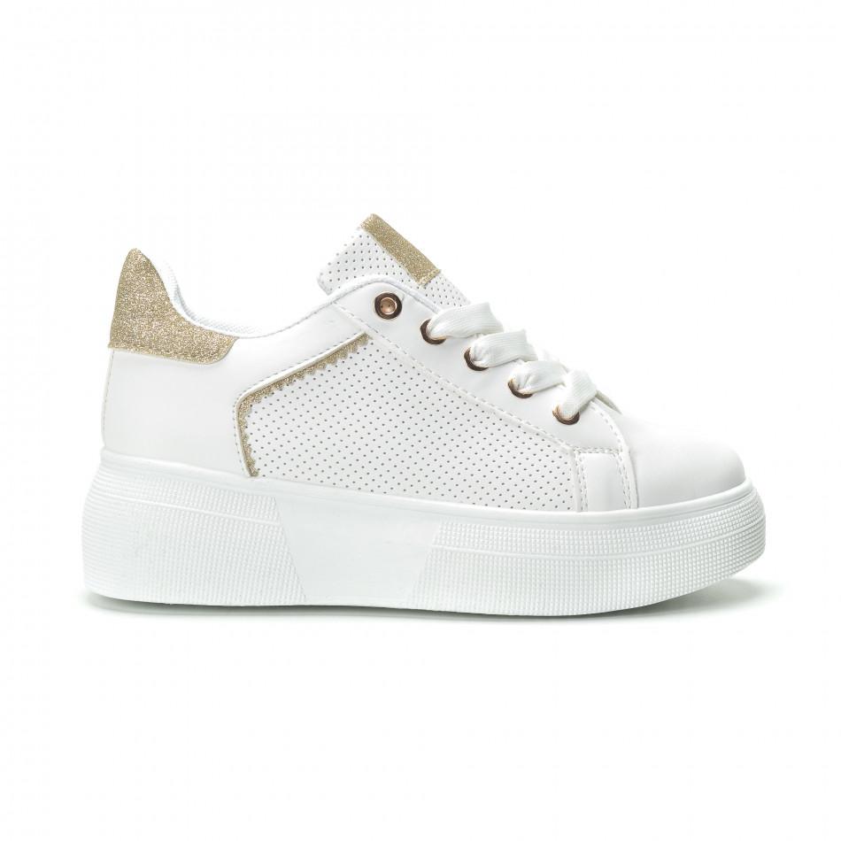 Γυναικεία λευκά sneakers με λεπτομέρειες από χρυσόσκονη it250119-82