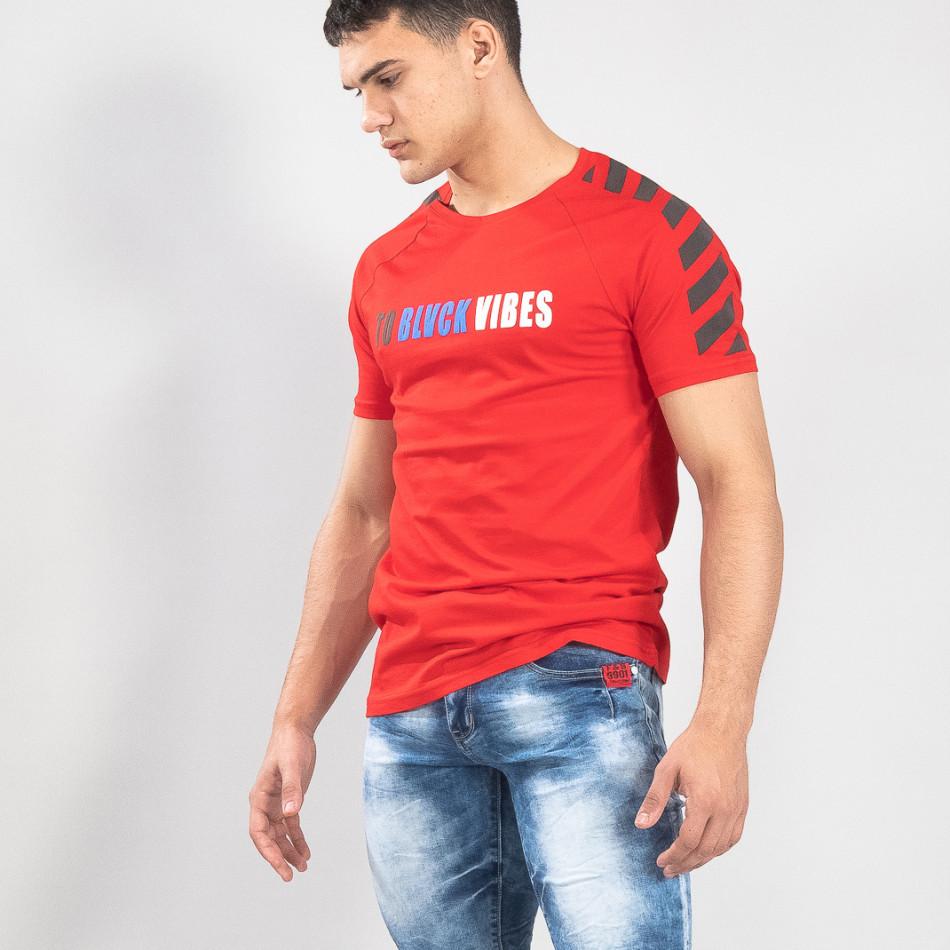 Ανδρική κόκκινη κοντομάνικη μπλούζα με λεπτομέρειες στα μανίκια it150419-79