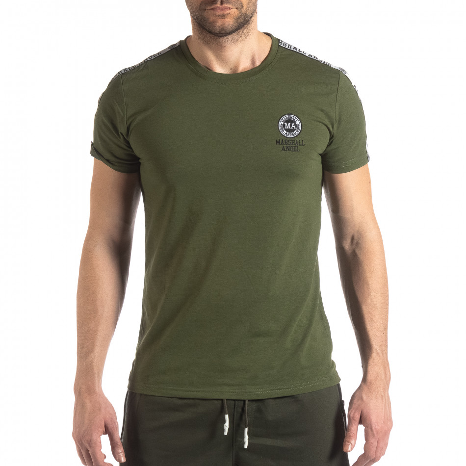 Ανδρική πράσινη κοντομάνικη μπλούζα με λογότυπο it210319-82