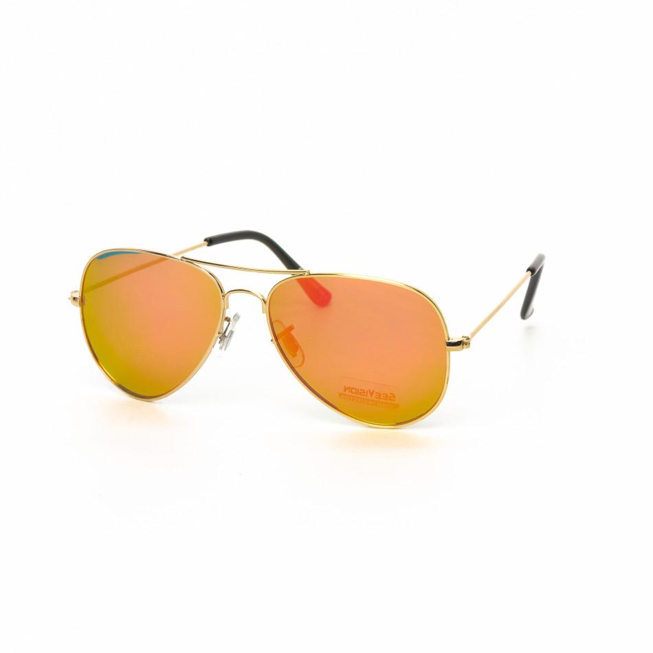 Ανδρικά ροζ-χρυσαφί γυαλιά ηλίου πιλότου it030519-2