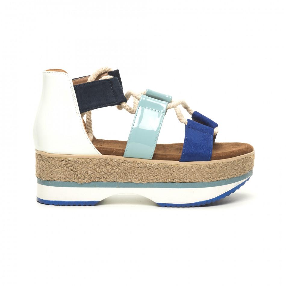 Γυναικείες παντόφλες θαλασσινό στύλ σε γαλάζιο και άσπρο it050619-51