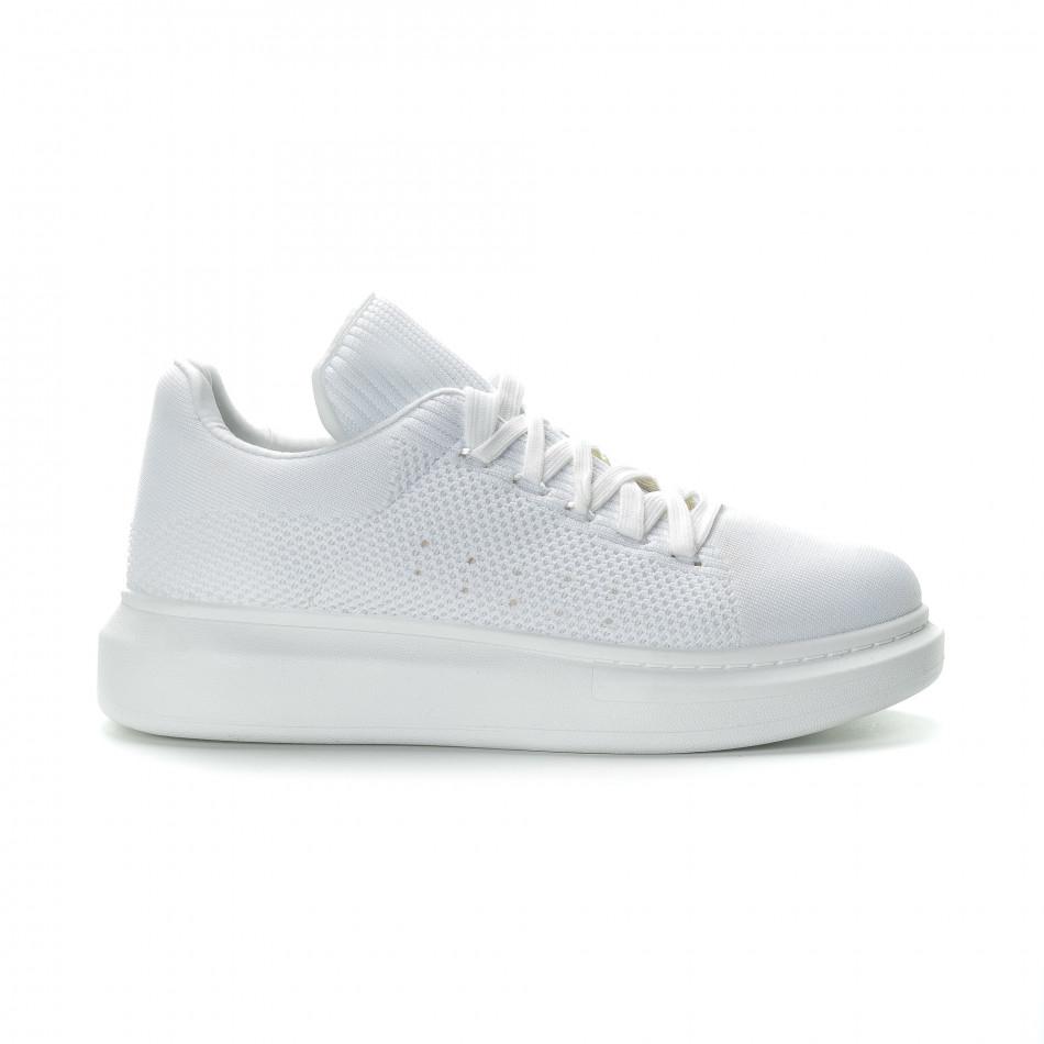 Ανδρικά λευκά υφασμάτινα sneakers με χοντρή σόλα it270219-2