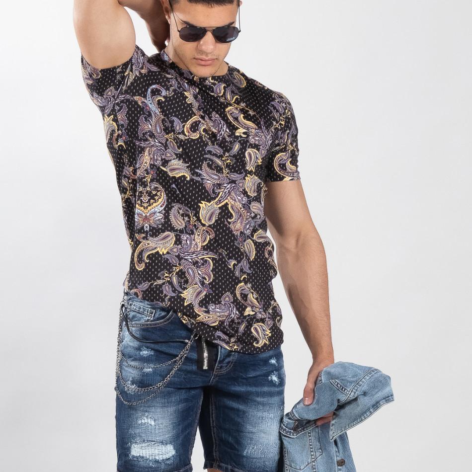 Ανδρική μαύρη κοντομάνικη μπλούζα με σχέδια it090519-62