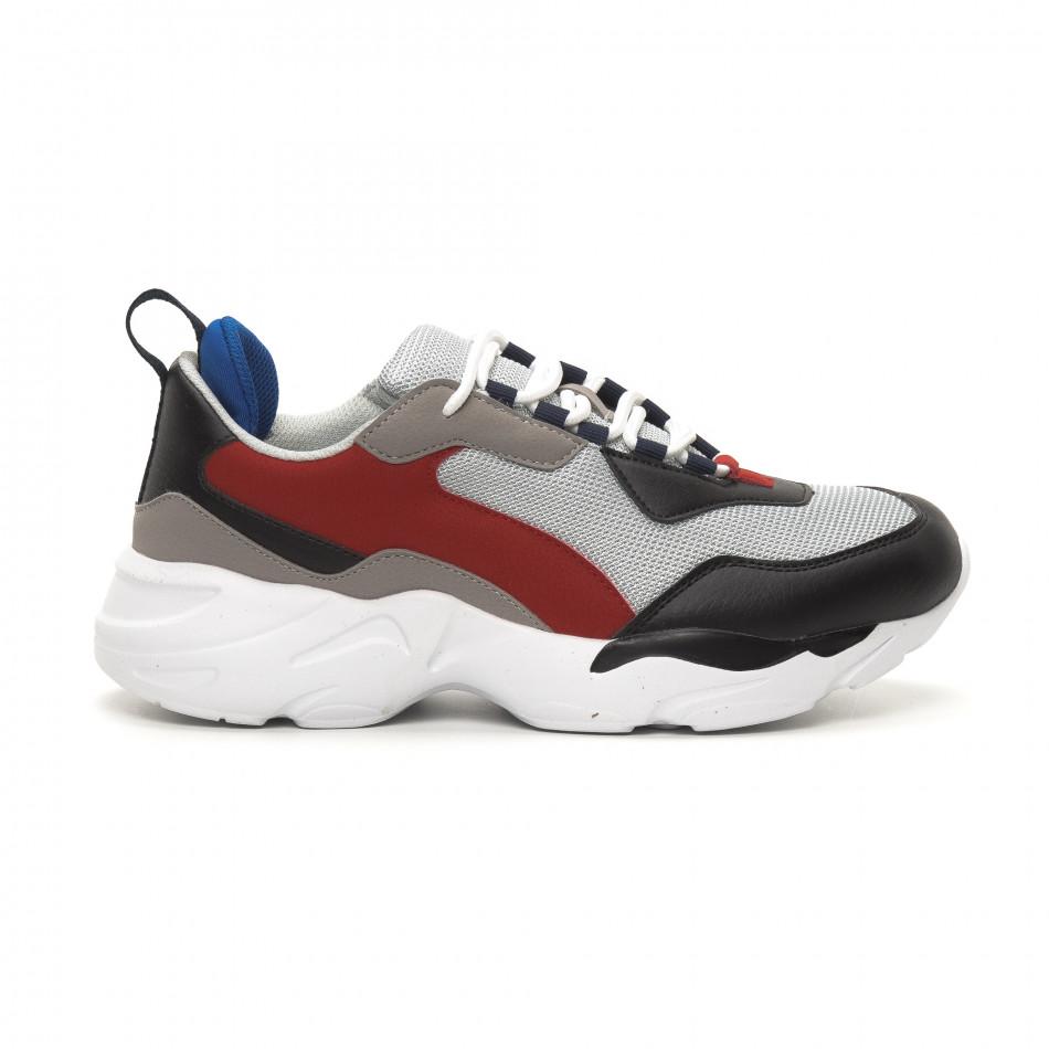 Ανδρικά γκρι αθλητικά παπούτσια Chunky it150419-117