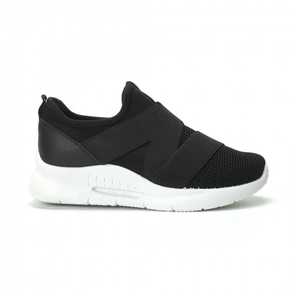 Slip-on γυναικεία μαύρα sneakers με λάστιχα it250119-63