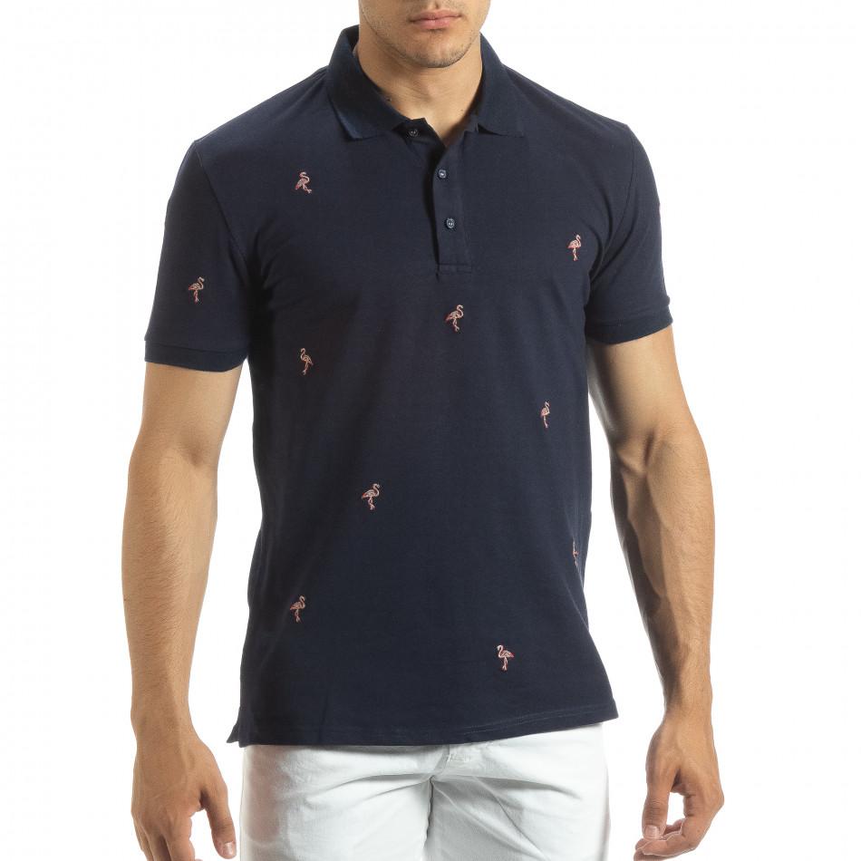 Ανδρική μπλέ polo shirt με Flamingo μοτίβο it120619-33