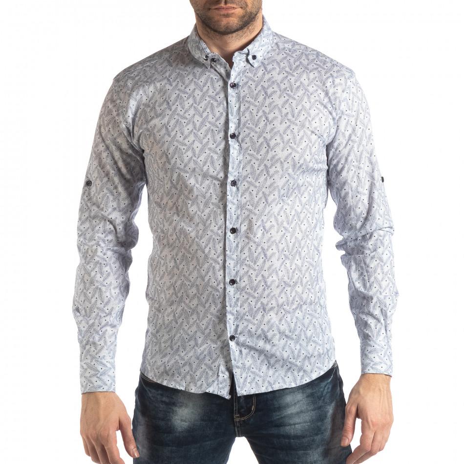 Ανδρικό λευκό Slim fit πουκάμισο με μοτίβο φύλλα it210319-99