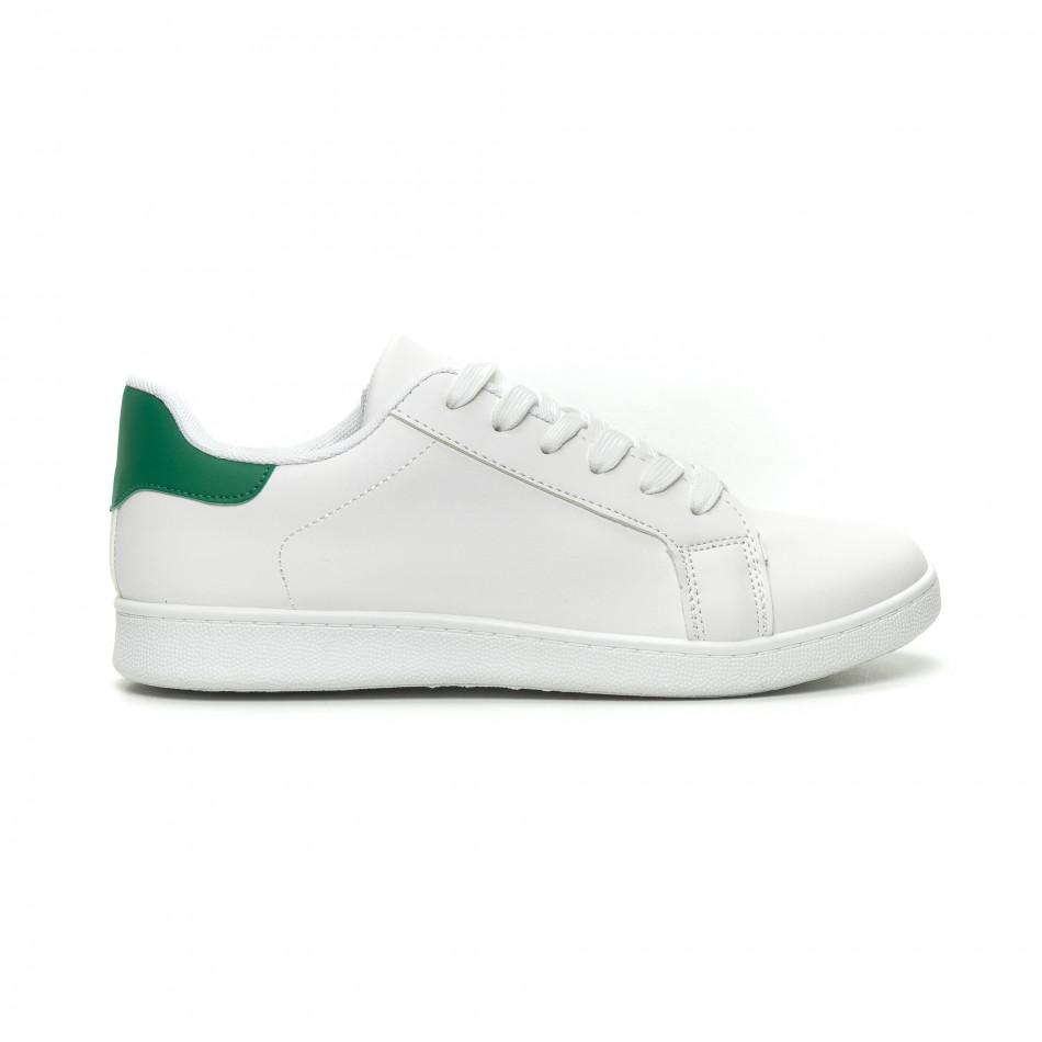 Ανδρικά λευκά αθλητικά παπούτσια με πράσινη λεπτομέρεια it040619-1