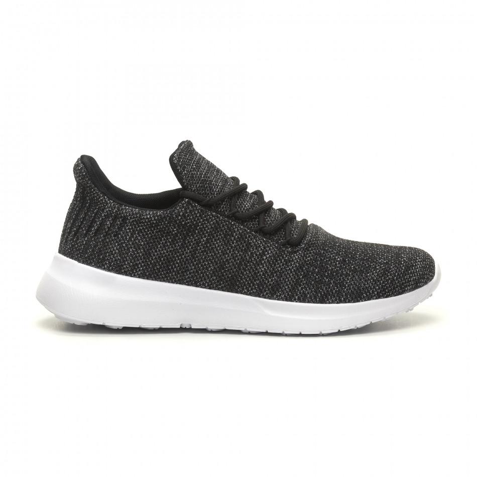 Ανδρικά μαύρα μελάνζ αθλητικά παπούτσια ελαφρύ μοντέλο με διακόσμηση it040619-7