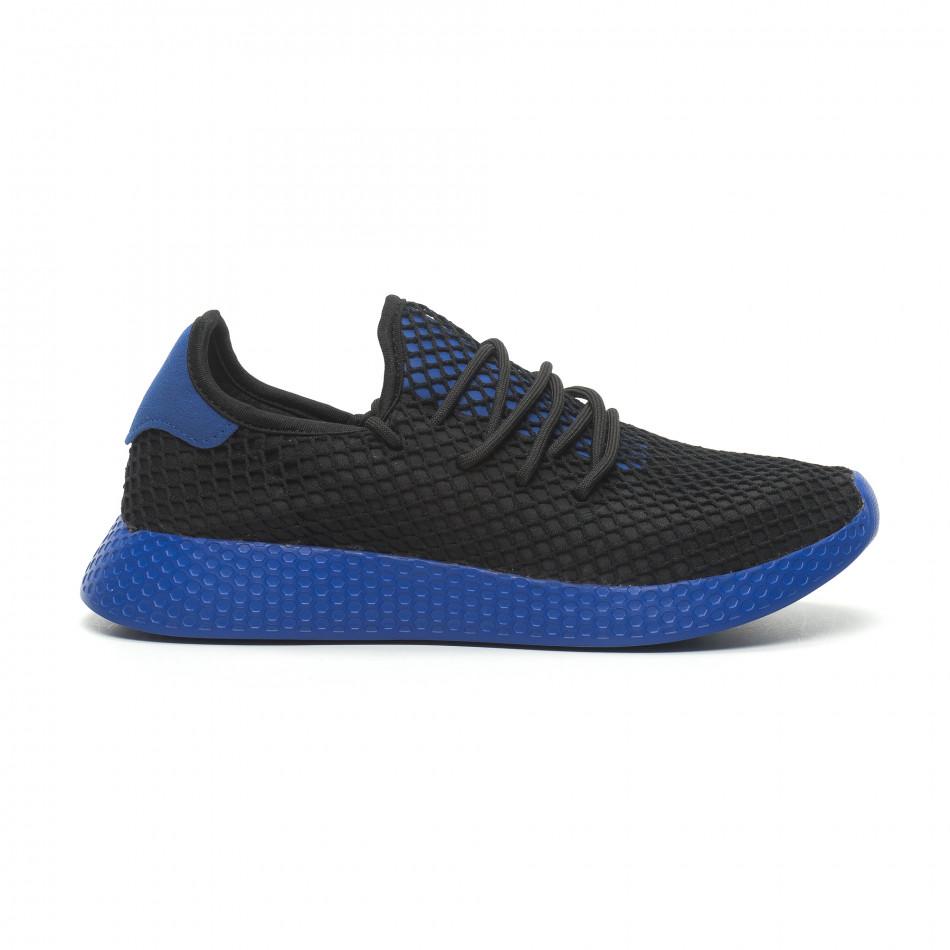 Ανδρικά μαύρα αθλητικά παπούτσια Mesh με μπλε λεπτομέρειες it230519-11