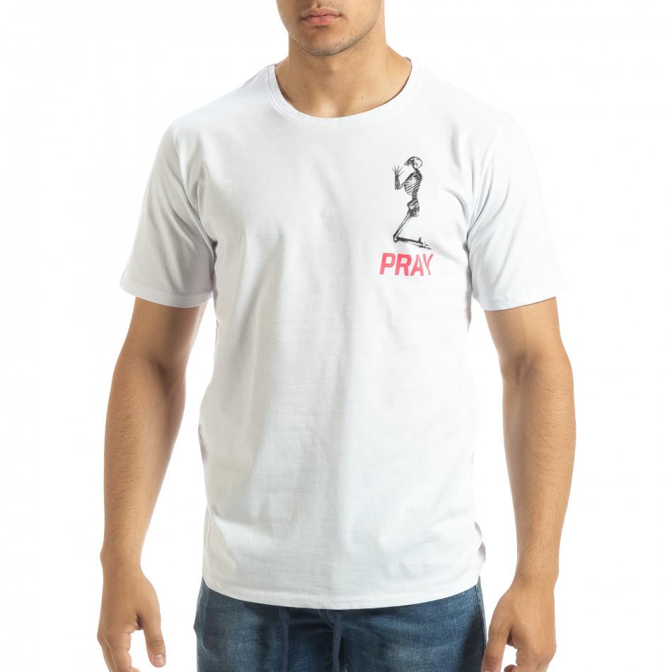 Ανδρική λευκή κοντομάνικη μπλούζα Pray Trust it120619-41