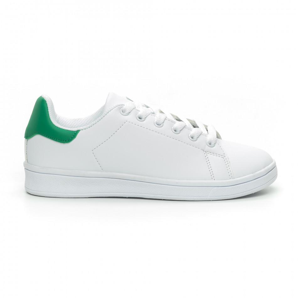 Γυναικεία Basic λευκά αθλητικά παπούτσια με πράσινη λεπτομέρειεα it150319-56