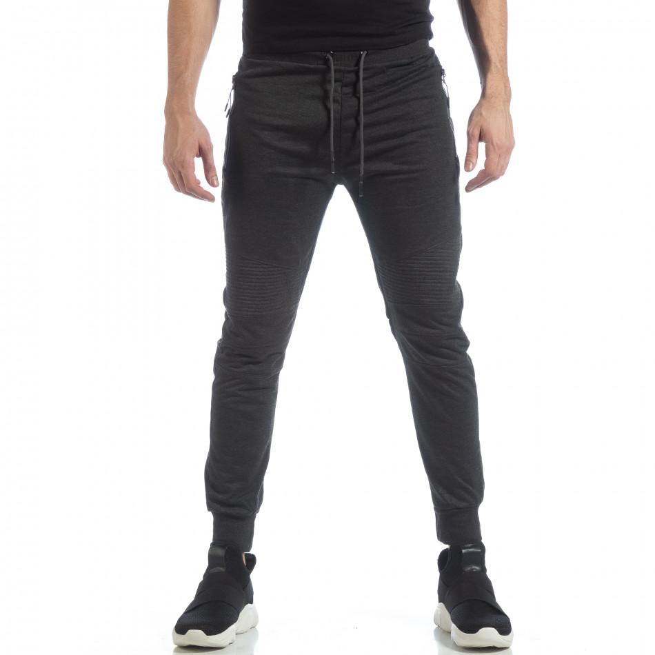 Ανδρικό Jogger Biker σε σκούρο γκρι χρώμα it040219-47
