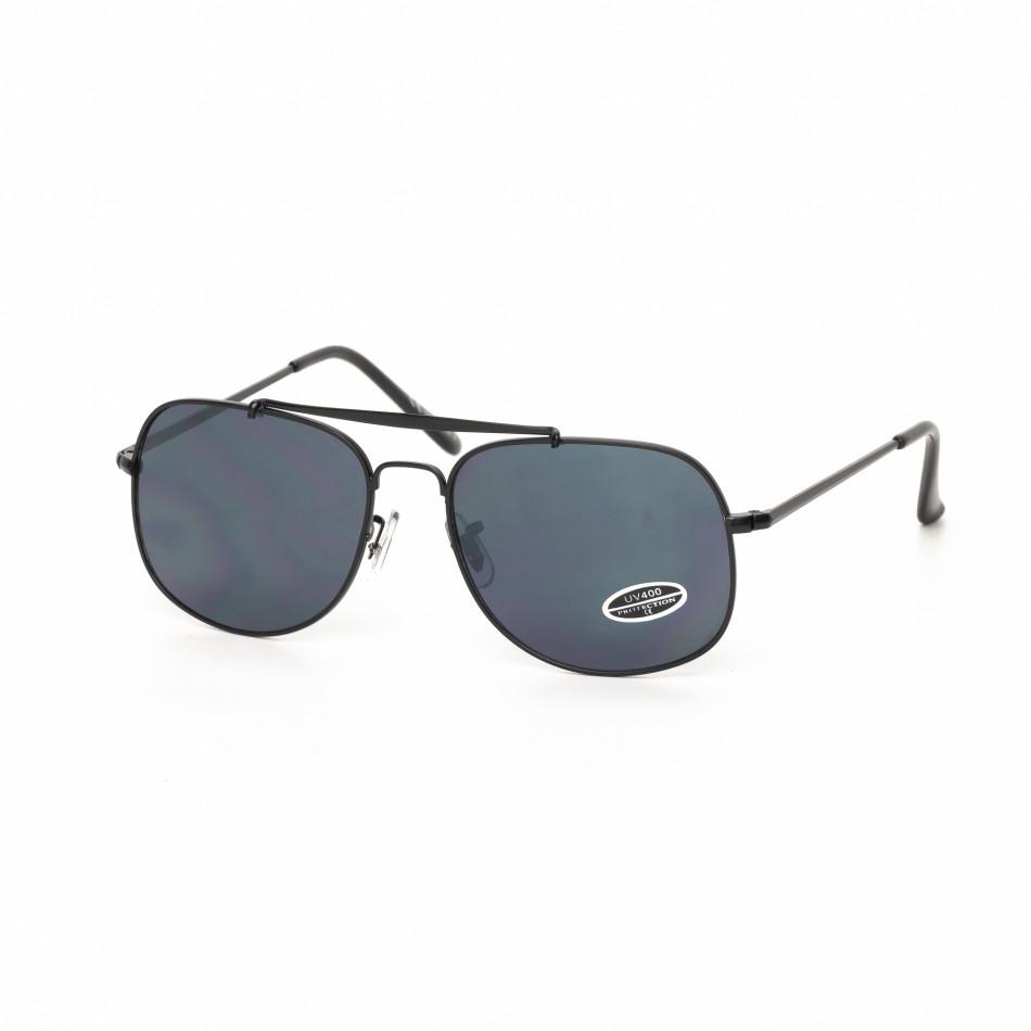 Ανδρικά μαύρα γυαλιά ηλίου με μαύρο μεταλικό σκελετό it030519-21