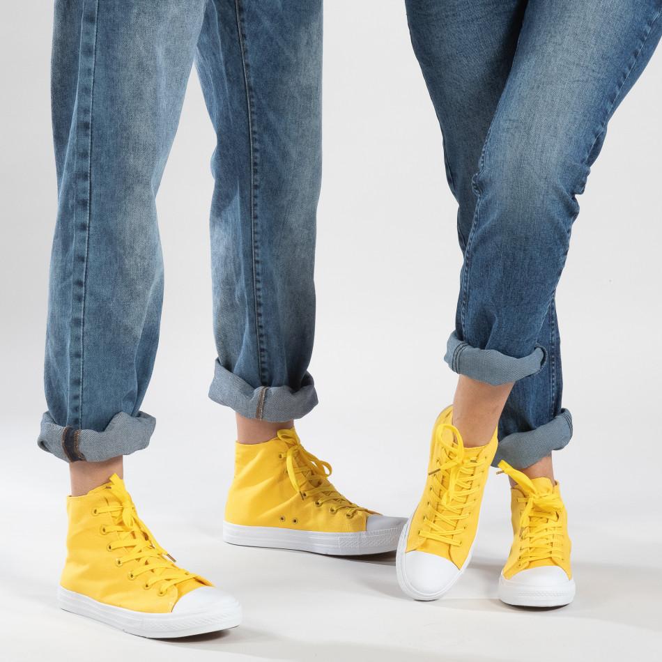 Ψηλά κίτρινα sneakers για ζευγάρια cs-it260117-51-it150319-32