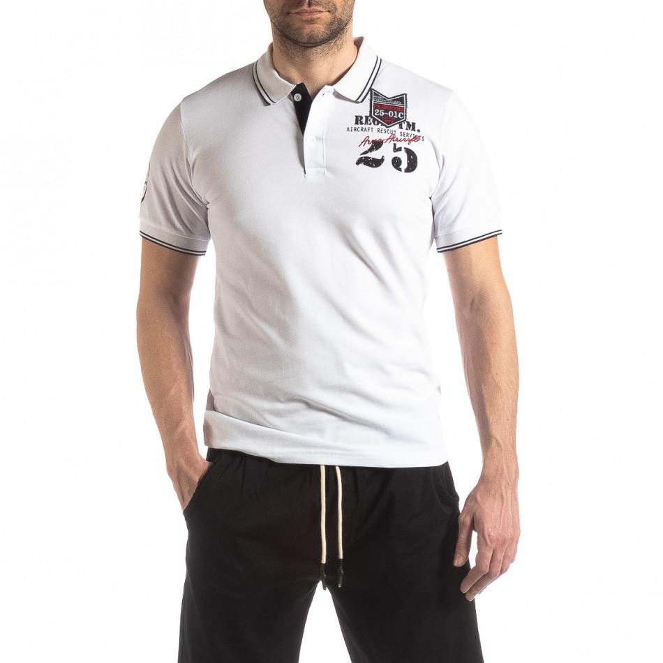 Ανδρική λευκή κοντομάνικη polo shirt Royal cup it210319-75