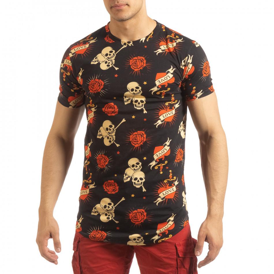 Ανδρική μαύρη κοντομάνικη μπλούζα Skull Love it090519-61