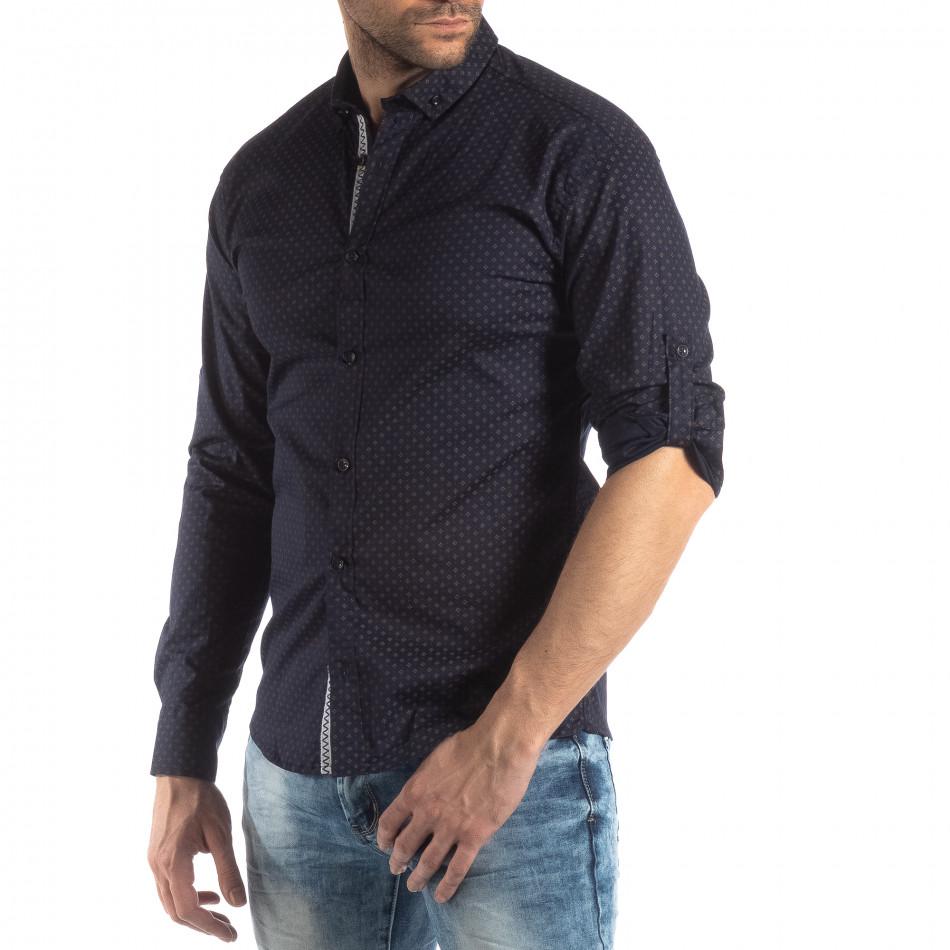Ανδρικό Slim fit σκούρο μπλε πουκάμισο με σταυροτό μοτίβο it210319-96