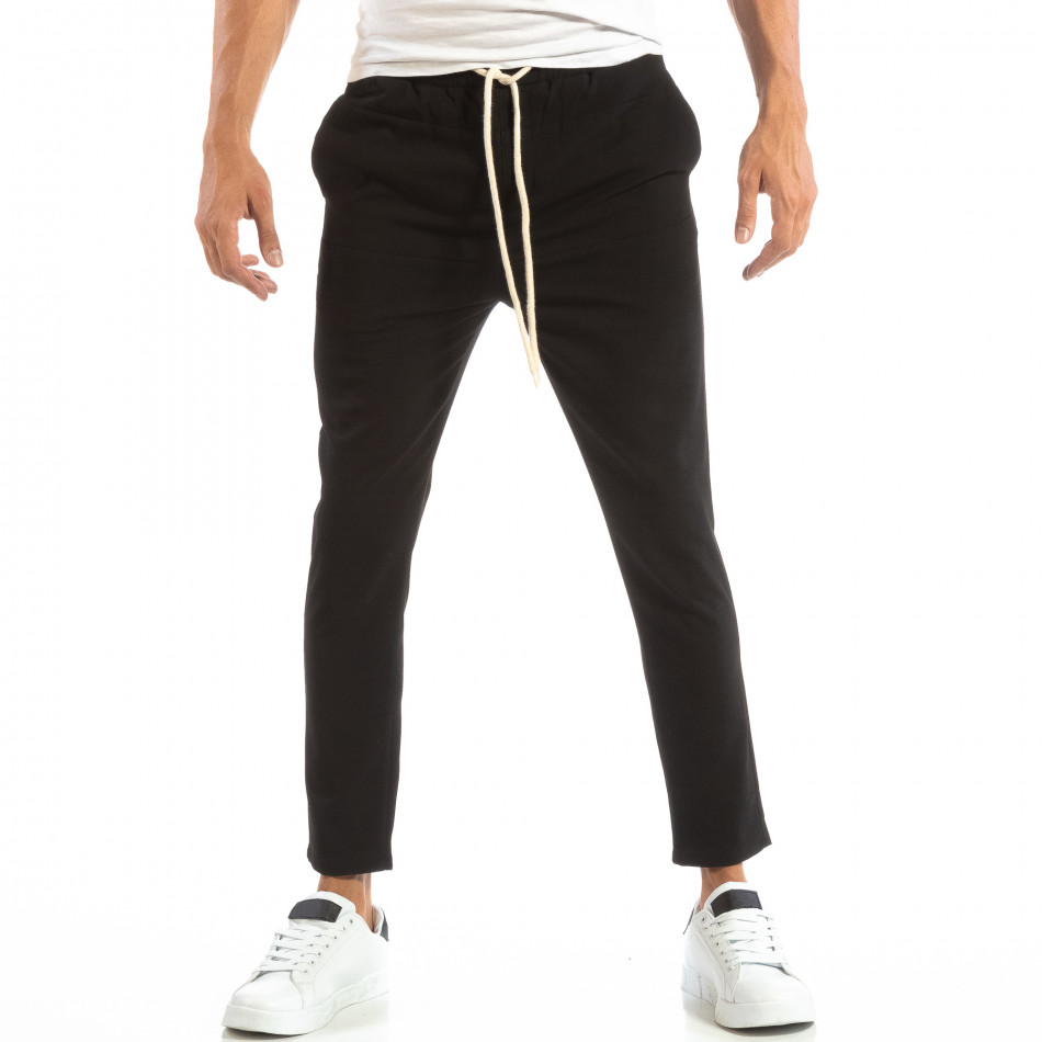 Ανδρικό μαύρο παντελόνι τύπου Jogger it240818-67