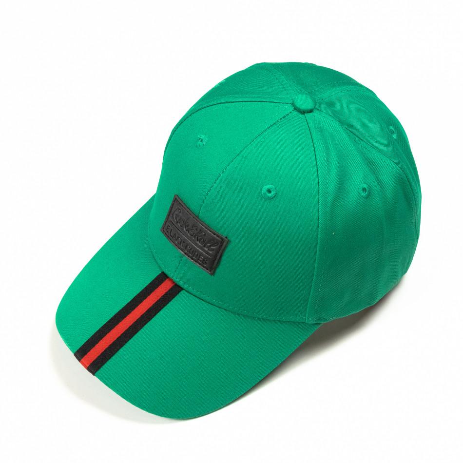 Πράσινο καπέλο με κόκκινη ρίγα it290818-1