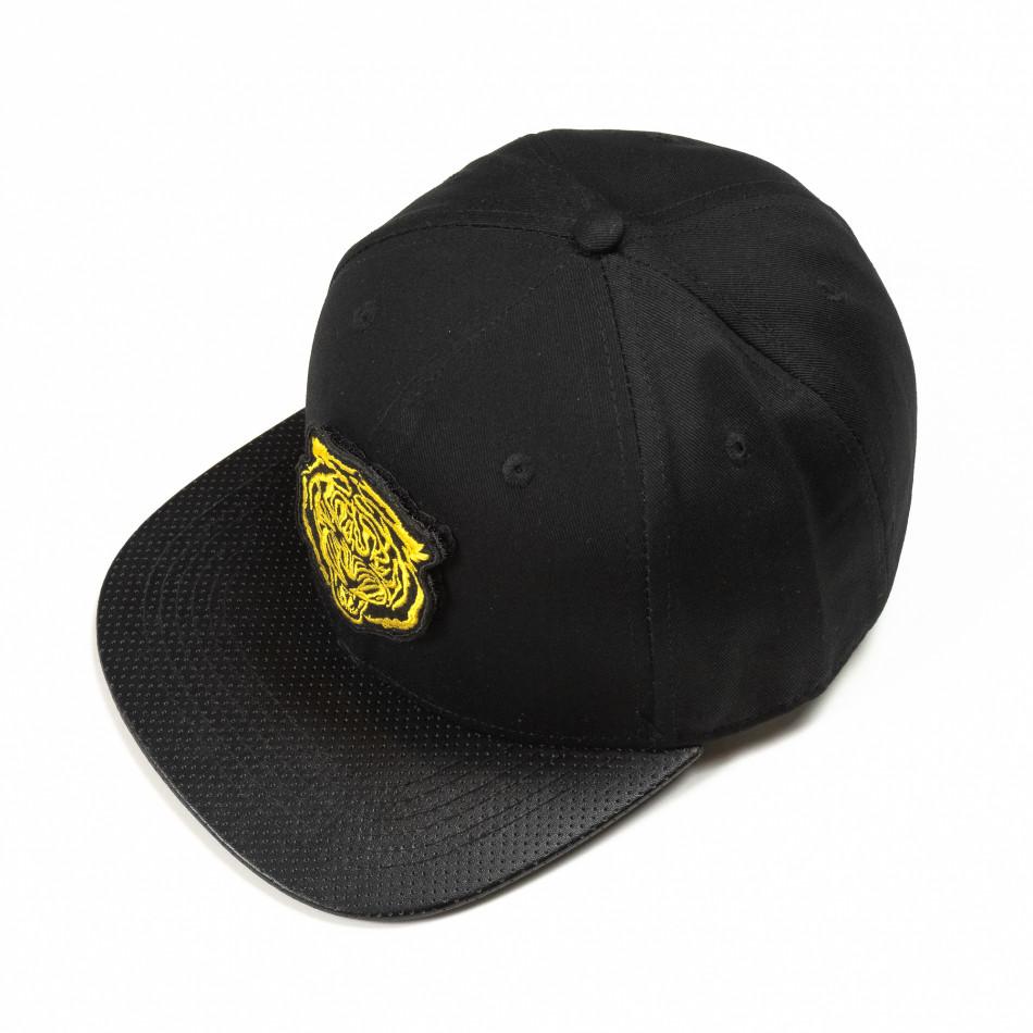 Μαύρο καπέλο με κίτρινη στάμπα it290818-6