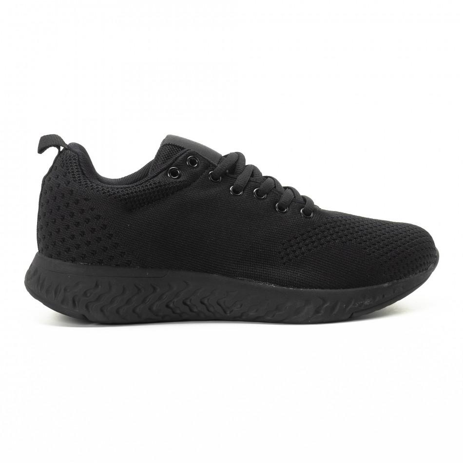 Ανδρικά μαύρα πλεκτά αθλητικά παπούτσια it301118-5