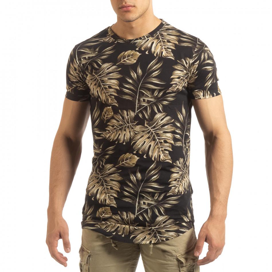 Ανδρική μαύρη κοντομάνικη μπλούζα Uniplay it090519-56