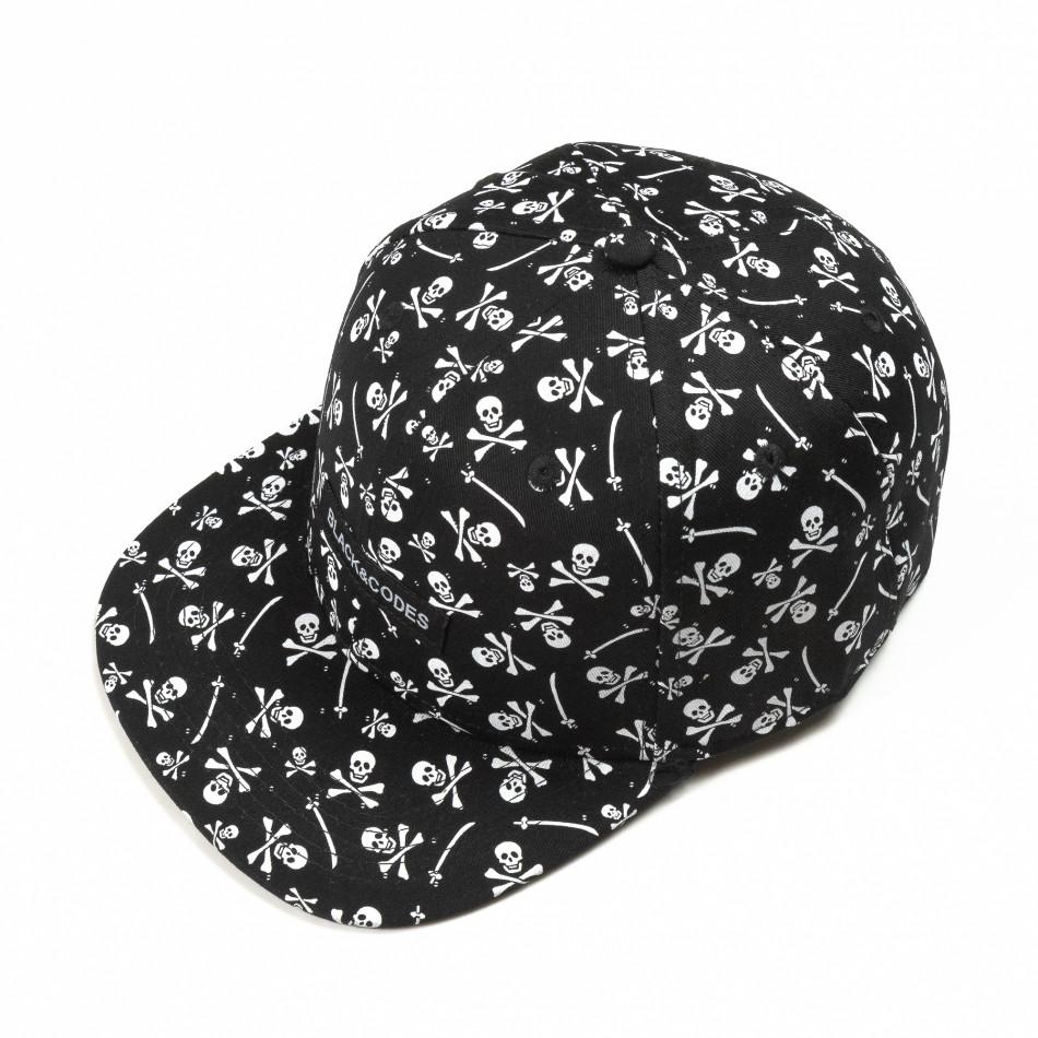 Μαύρο καπέλο με νεκροκεφαλές it290818-10