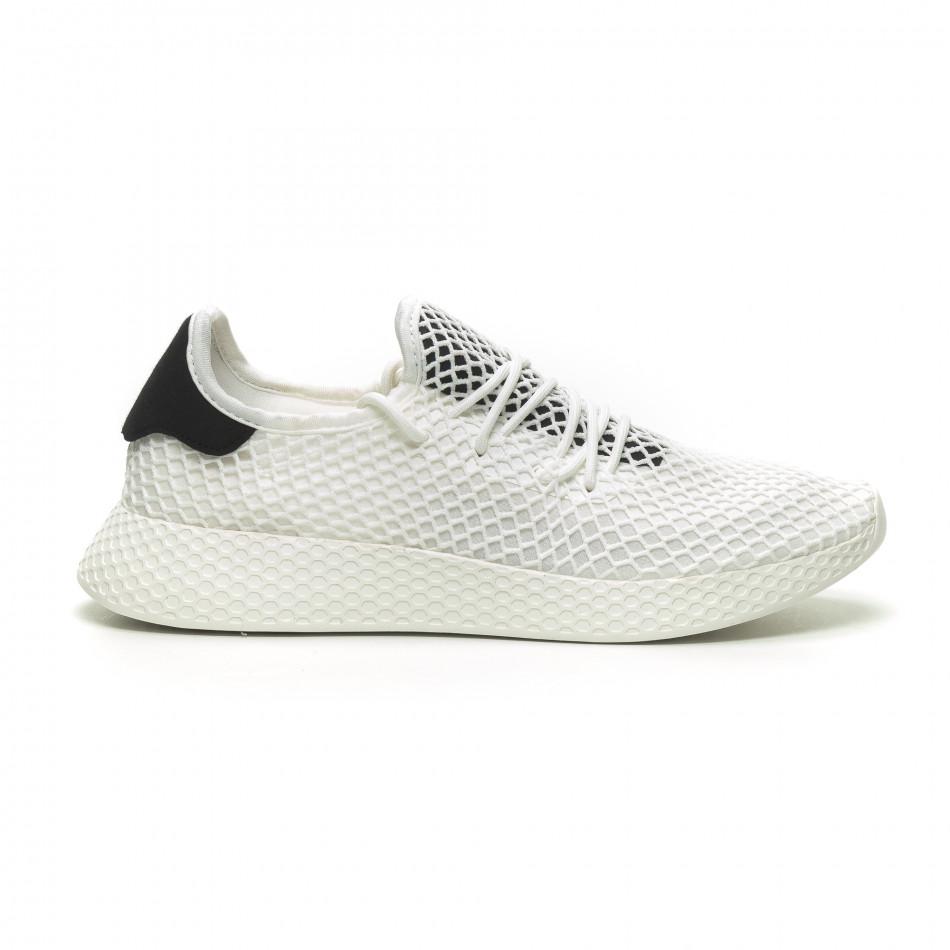 Ανδρικά λευκά αθλητικά παπούτσια Mesh με μαύρες λεπτομέρεις it230519-9
