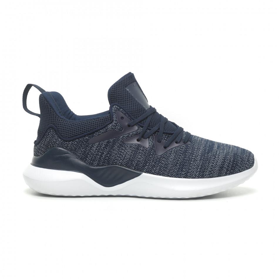 Ανδρικά μπλε μελάνζ αθλητικά παπούτσια πλεκτό μοντέλο it230519-4