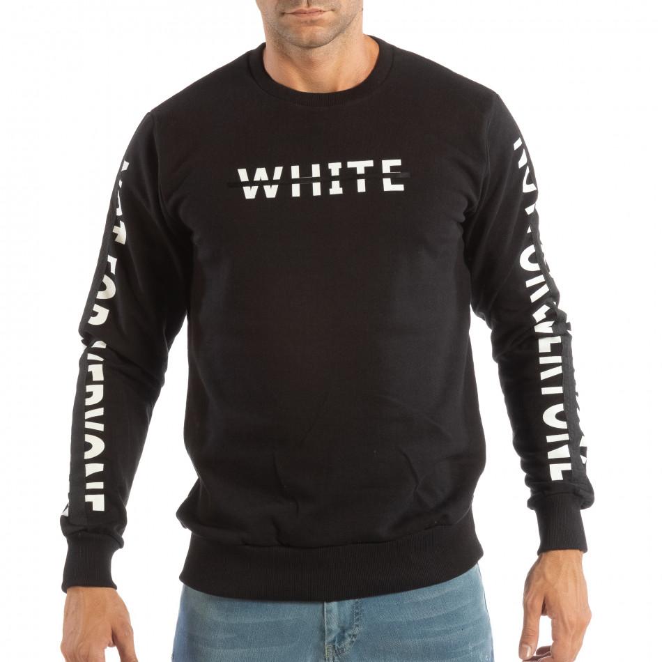 Ανδρική μαύρη μπλούζα WHITE it240818-128