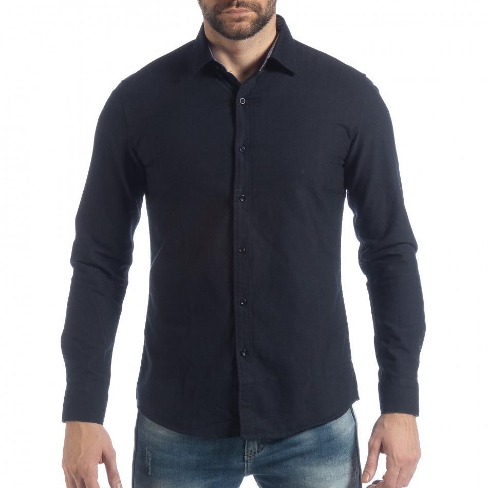 Ανδρικό σκούρο μπλε πουκάμισο Slim fit it040219-123