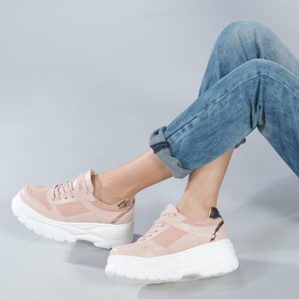 Chunky γυναικεία ροζ sneakers με πλατφόρμα it250119-50