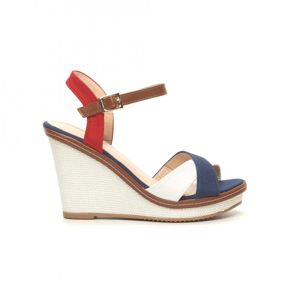 Γυναικείες πλατφόρμες σε γαλάζιο ,άσπρο και κόκκινο it050619-36