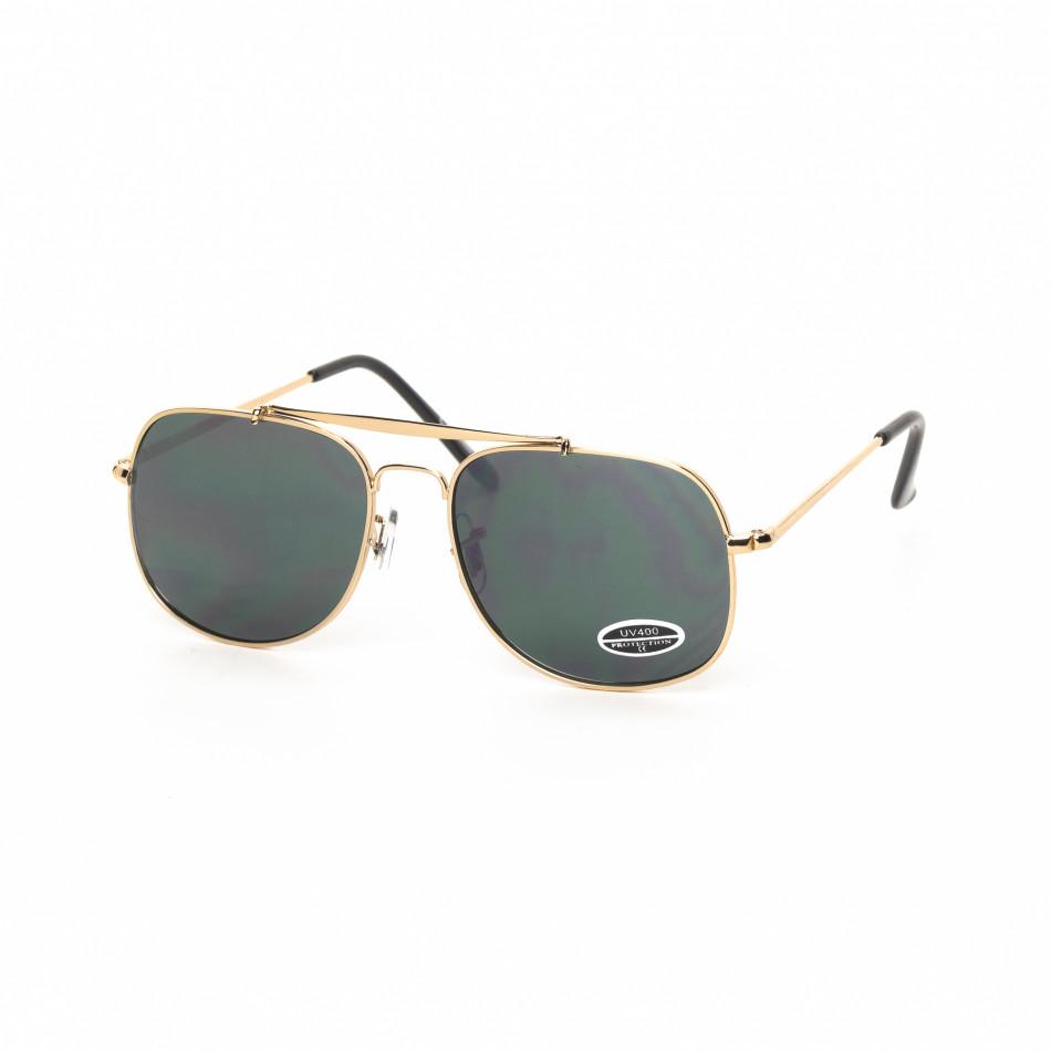 Ανδρικά πράσινα γυαλιά ηλίου χρυσαφί σκελετό it030519-23