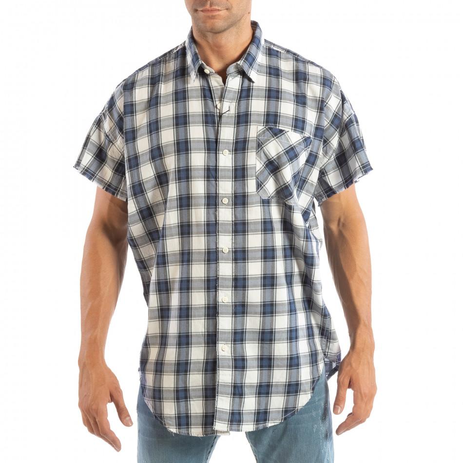 Ανδρικό γαλάζιο κοντομάνικο πουκάμισο RESERVED lp070818-128