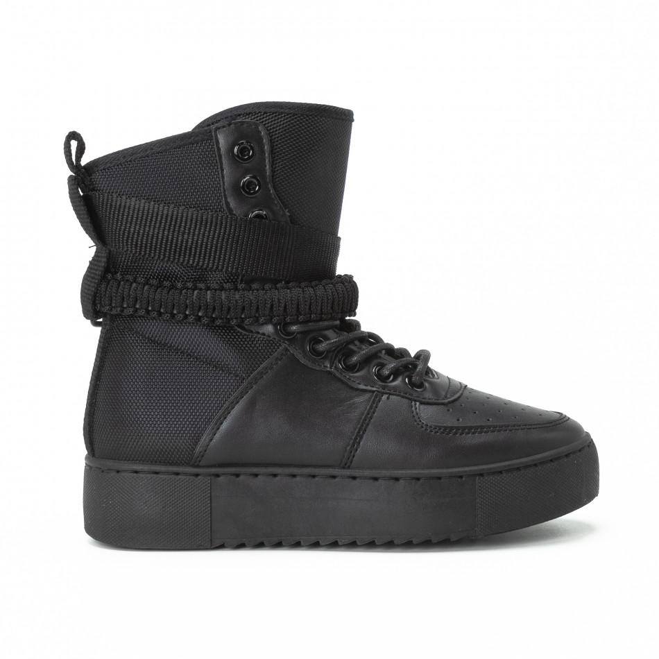 Γυναικεία μαύρα ψηλά sneakers All black με αξεσουάρ it150818-62